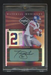 2006 LEAF LIMITED TIKI BARBER MATERIAL MONIKERS AUTO PATCH LOGO #D 03/10 RARE