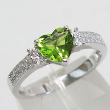 Silver Plated Peridot Gemstone Ring Fashion Women Wedding Bridal Jewelry Sz6-10