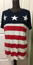 COCO and MAIN Size Small short sleeves Stripes  & Stars top
