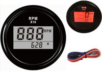 0-9900RPM Digital Tachometers 52mm Rev Counters with Hour Meter for Auto Ship RV
