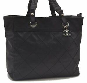 Authentic CHANEL Paris Biarritz Shoulder Tote Bag Canvas Black CC B0229