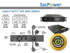 Emerson Liebert® GXT3 UPS GXT3-3000RT208 Rackmount New Batteries 1 Year Warranty