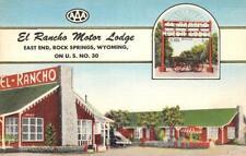 EL RANCHO MOTOR LODGE Rock Springs, WY Lincoln Highway Roadside Postcard c1940s