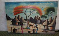 PEINTURE AFRICAINE ANCIENNE / VILLAGE AFRICAIN / SIGNEE