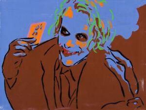 Philippe LE MIERE Dark Joker Knight...Batman Head - Signed Painting, DC, Pop Art