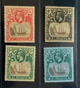 ST. HELENA 1922 KG V 4d to 5s SG 92 - 95 Sc 95 - 98 wmk MCCA MLH