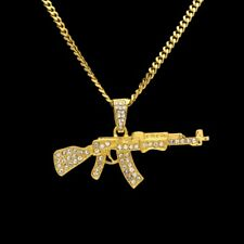 18K Gold Plated Mens Iced Out LAB DIAMOND Hip Hop AK47 Gun Cuban Chain Necklace