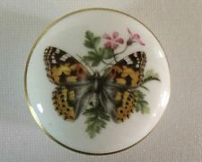 """Royal Worcester BUTTERFLY Small Round Ring BOX 2 1/8"""" Fine Bone China England"""