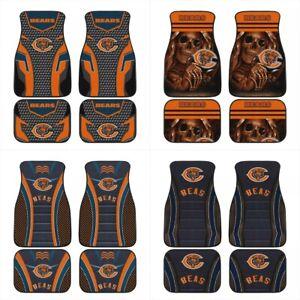 Chicago Bears Universal Car Front/Rear Floor Rugs 2/4 PCS Fans Car Floor Mats