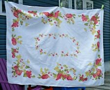 Vintage linen tablecloth - red apples berries pears grapes floral 64 x 48