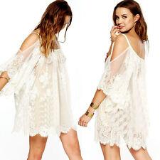 Boho Beach lace Strap Backless Floral Crochet Mini Dress Kaftan Tops Plus Size