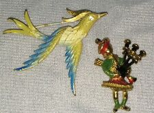 Mamselle Brooch Scottish Bagpipes Blue Bird Set Vintage Pins Goldtone