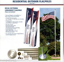 15 FT. ALUMINUM WHITE FLAGPOLE KIT W/ (1) 3'X5' U.S. FLAG & 2 CAR ANTENNA FLAGS