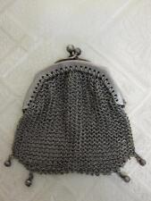 ANTIQUE GERMAN 800 SILVER MESH CLUTCH PURSE BAG