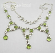 "925 Solid Silver CABOCHON PERIDOT Large Necklace 17.7"" CHRISTMAS EVE"