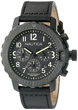 Nautica Men's NMS 01 Chrono 100m Black Stainless Steel Leather Watch NAD21006G