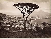 Italia Panorama Di Monreale Morreale Foto Incorporato Vintage Albumina Ca 1880