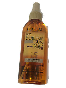 L'Oreal Sublime Sun Sunscreen SPF 15 Sheer Protect Oil Spray Water Resistant New