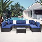 7 Pc Patio Rattan Wicker Sofa Set Cushioned Sectional Garden Outdoor Furniture