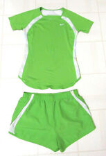 Nike Dri Fit Green S/S Top and Shorts With Built In Panties Sz Small Misses