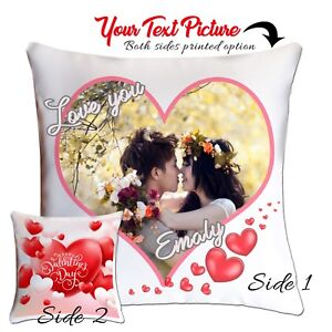 Personalised Photo Cushion Covers Valentines Gift Photo Printed  Hi Quality Gift