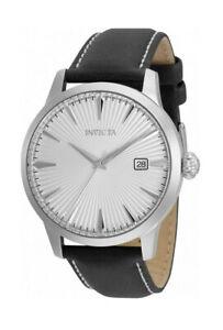 Invicta Vintage Men's 36244 Silver Case Black Leather Band 44MM Case Watch