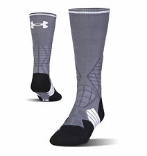 Under Armour UA Highlight Football Crew Socks sz XL X-Large (13-16) Gray White