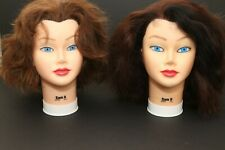 Lot of 2 Burmax SAM II Hair Styling Mannequin Head 100% Human Hair