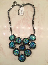 Brand NEW - MACYS Style & Co Hematite Tone Blue Glitter Cabochon Bib Necklace