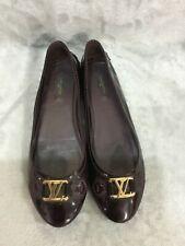 LOUIS VUITTON Dark Purple Patent Leather Oxford Flat Ballerina SZ 39