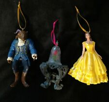Disney Beauty and the Beast Christmas Ornament set enchanted rose Belle Beast
