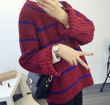 Comodo caldo maglione donna rosso blu righe morbido misto lana 4266