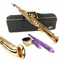 Curved Bell  SOPRANO  SAXOPHONE - SAXELLO - GOLD LACQUER FINISH - with CASE