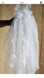 White 2 Tier First Holy Communion Veil / Bridal  Hen Night Veil flowers Ribbon