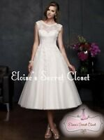 CLARISSA Ivory/White Tea Length Tulle Lace 50's Vintage Inspired Wedding Dress