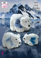 POLAR BEARS IN 3 SIZES  TOY KNITTING PATTERN TUFTY CHUNKY KING COLE 9094