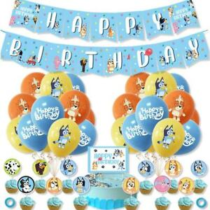 BLUEY Party Package BUNTING Banner Balloons Cake/cupcake Topper decoration
