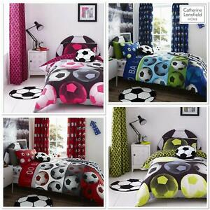 Catherine Lansfield Kids Football 4 Colours Duvet Set Reversible Bedding Curtain