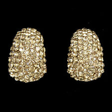 LOVELY BRAND NEW 18K GOLD PLATED GENUINE AUSTRIAN CRYSTAL CLIP-ON EARRINGS
