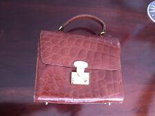 New listing Vintage! Talbots Brown Leather Crocodile Reptile Boxy Purse Handbag
