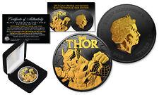 2018 1 oz Silver BU Tuvalu Marvel THOR Coin BLACK RUTHENIUM & 24KT GOLD 2-Sided