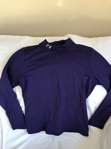 Under Armour Boys Youth XL Purple Fitted Coldgear Athletic Shirt