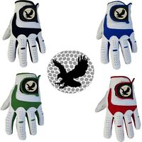 BALL EAGLE White Golf Glove LEATHER or ALL WEATHER Mens/Ladies Right/Left Hand