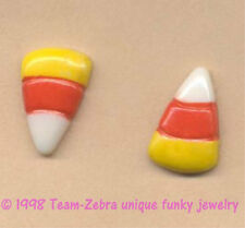 Funky CANDY CORN BUTTON EARRINGS Fun Fall Thanksgiving Halloween Costume Jewelry