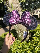 NEW Disney Parks Holographic Purple Star Bow Minnie Ears Headband