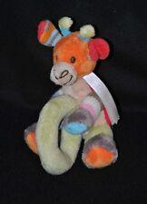 Peluche doudou girafe multicolore HAPPY HORSE tricot rond vert grelot 14 cm NEUF