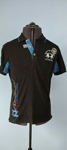 La Martina Auckland Polo Team Mens Polo Shirt Short Sleeve Black Cotton M