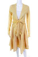 Carmen Marc Valvo Womens Silk Cardigan Skirt Set Yellow Size 8