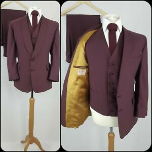 """Mens Vintage 3 Piece Suit Chest 42"""" Waist 34"""" Leg 29"""" Purple Shawl Collar"""