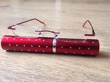 Foster Grant reading glasses Red tube rimless readers, +1.50